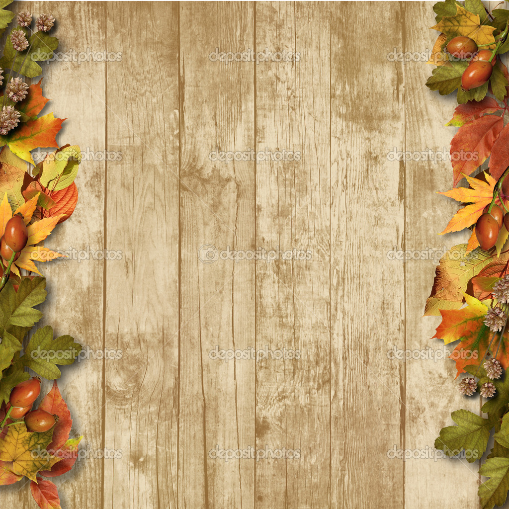 Fall Wooden Wallpaper 老式木制背景与秋天的树叶 图库照片 169 Chiffa#30236083