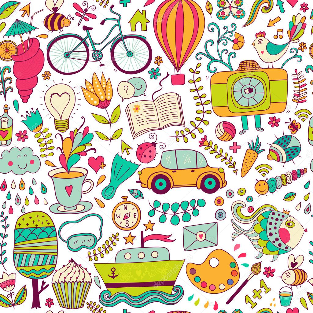 How To Set Live Wallpaper On Iphone Se Vector Seamless Pattern Childish Doodles Pattern Set Of