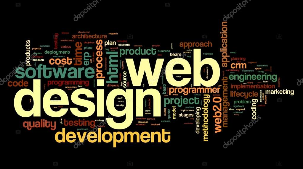 Web design concept in word tag cloud on black background \u2014 Stock