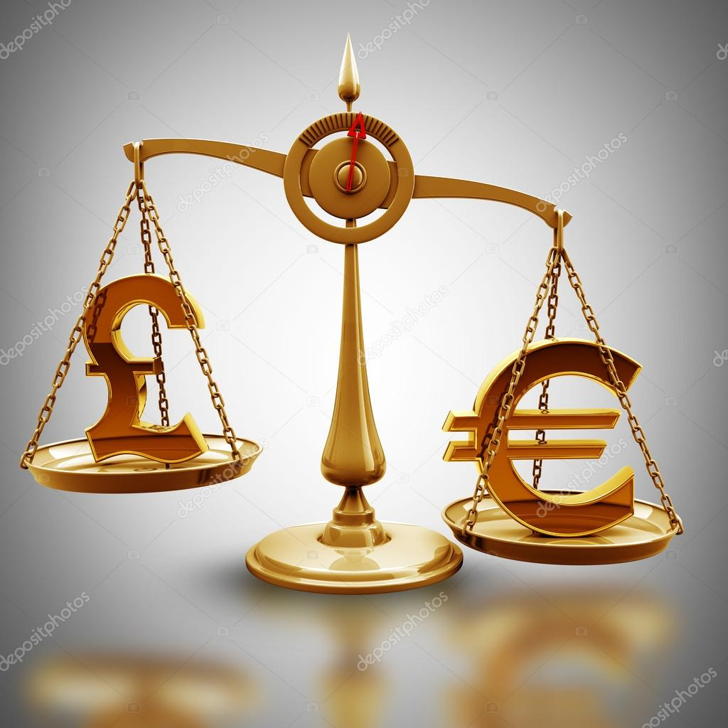 Libra Esterlina Euro Escala Com Símbolos De Moedas Euro Vs Libra Esterlina