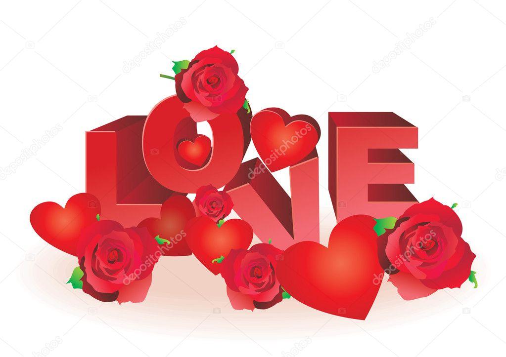 rosas y corazones rojos vector de cartas de amor \u2014 Archivo Imágenes - rosas y corazones