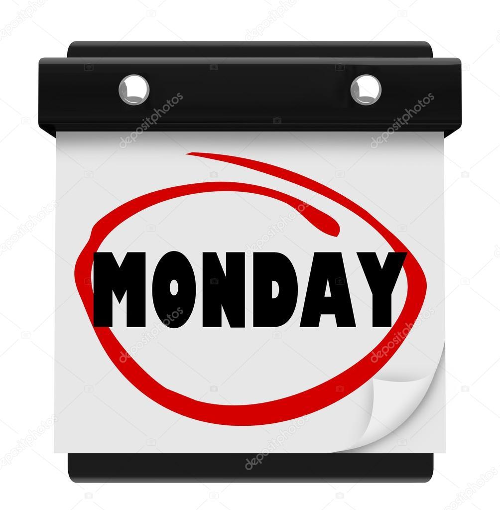 palavra de calendário de parede segunda-feira começar a semana de