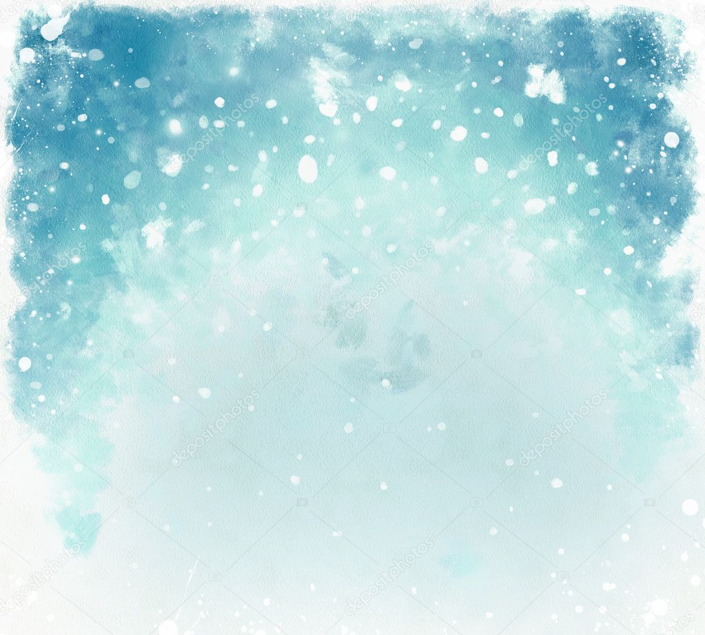 Free Download Of Christmas Wallpaper With Snow Falling Blue Christmas Watercolor Background With Snowflakes