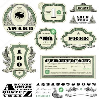 Vector Money Frame and Ornament Set — Stock Vector © createfirst #24339825