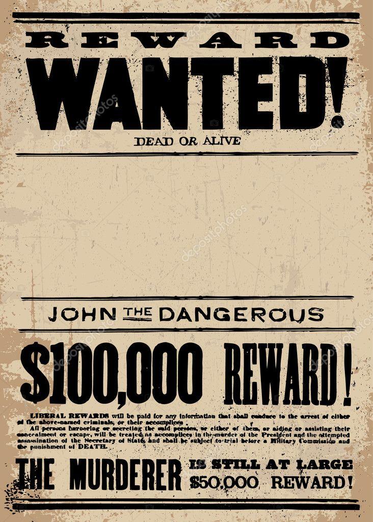 wanted reward template - missing reward poster template