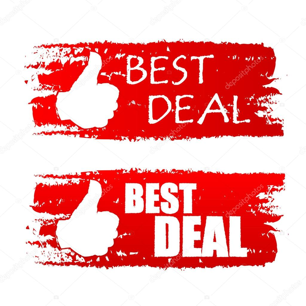 Beste Deals Best Deal With Thumb Up Sign Red Drawn Labels Stock Photo