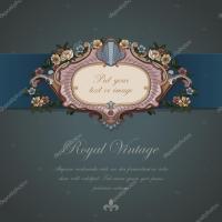 Gift Card Vintage design. Floral ornament. Retro ...