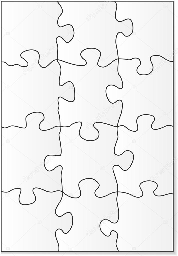 12 piece puzzle template \u2014 Stock Vector © gorgrigo #40856043