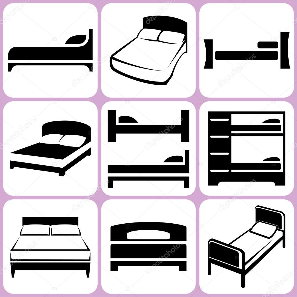 Doppelbett Clipart Bed Icons Set Stock Vector Alisher 34663611