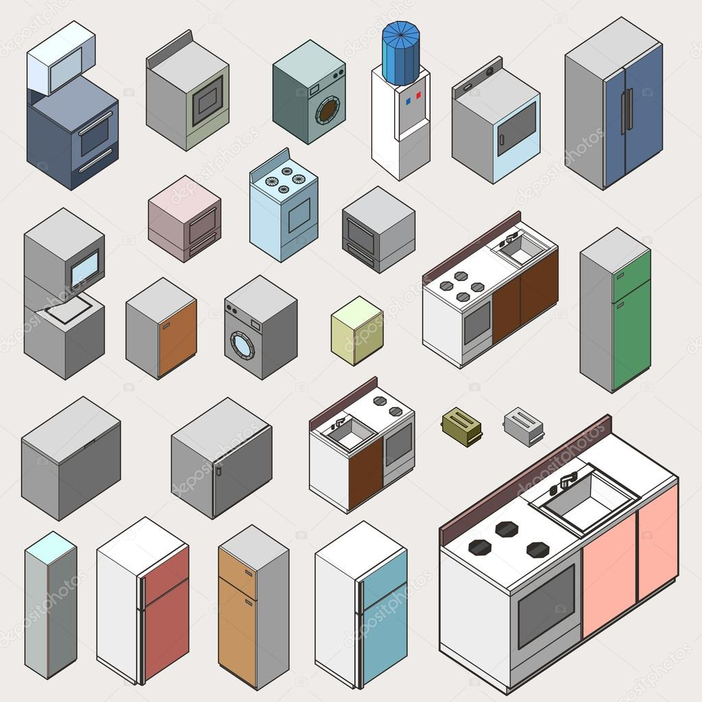 Muebles Pop Art Set Of Furniture Isometric Detailed Interior Isometric