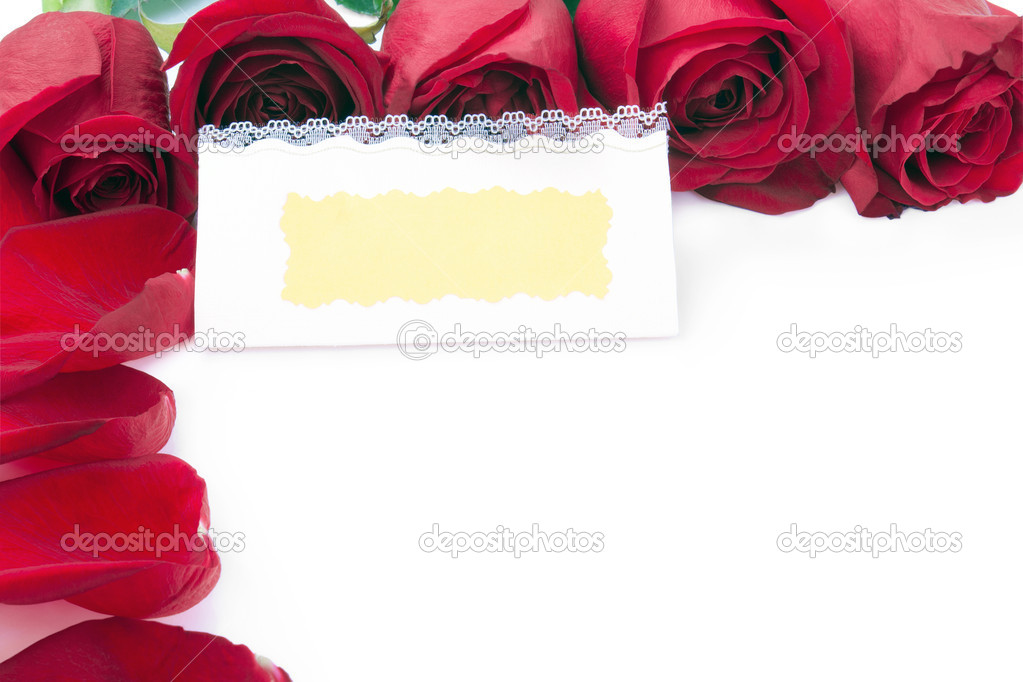 blank gift card in the frame of red roses \u2014 Stock Photo © Angelika