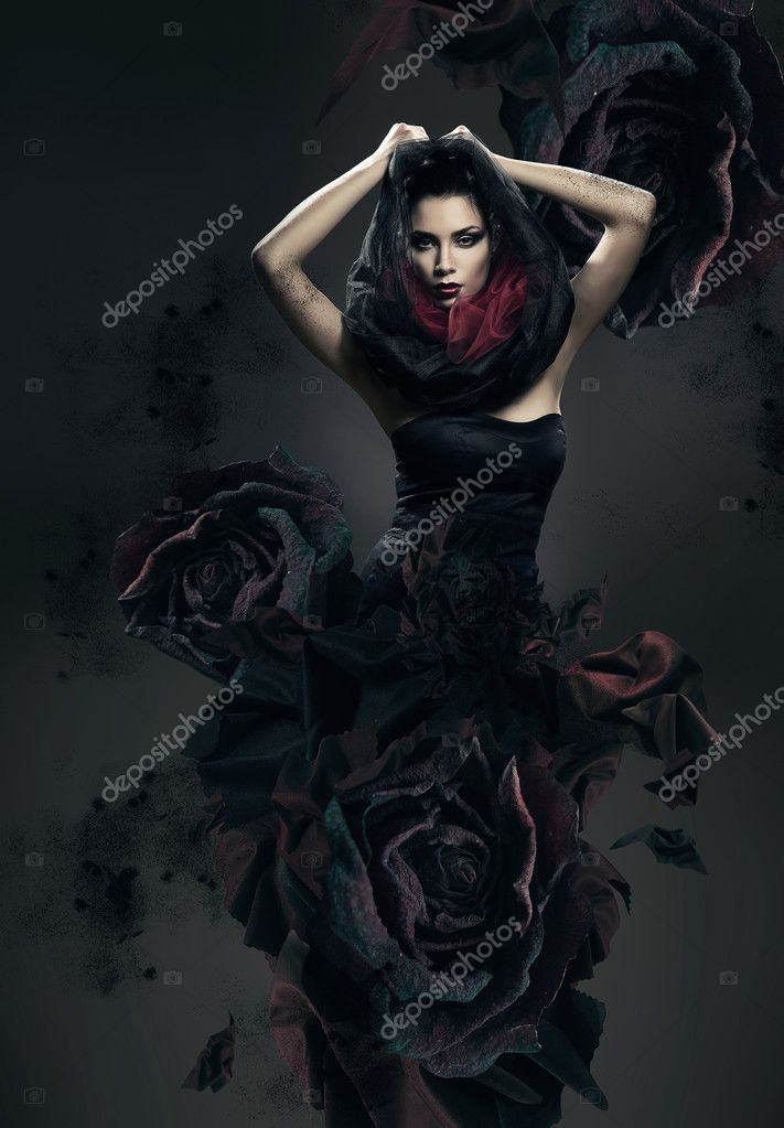 Hooded Goth Girl Wallpaper Mysterious Woman In Dark Hood And Rose Dress Stock Photo