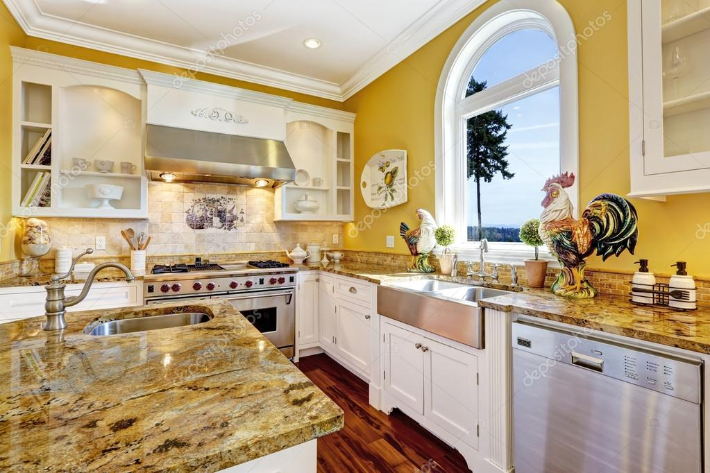 Do White Kitchen Cabinets Turn Yellow Bright Yellow Kitchen Room With Granite Tops And Arch