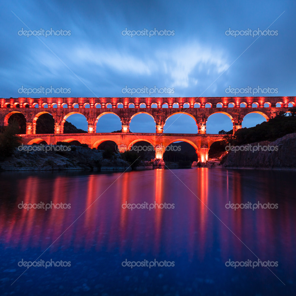 Verlichting Pont The Pont Du Gard Southern France Europe Stock Photo Kasto