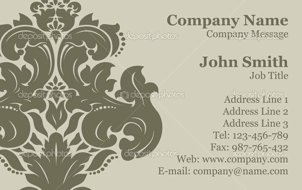 Vector Victorian Damask Business Card \u2014 Stock Vector © gromaler