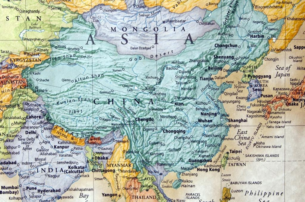 Map of china and parts of asia \u2014 Stock Photo © zenmaster8 #12228985