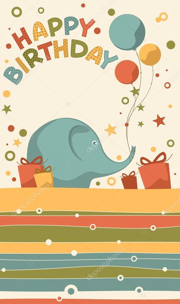elefantes bonito de postais aniversário \u2014 Vetores de Stock