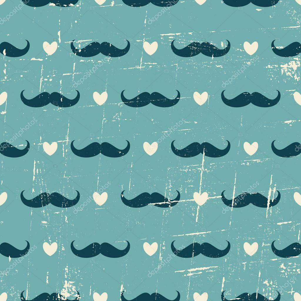 Cute Shoes Wallpaper Seamless Mustache And Hearts Background Stock Vector