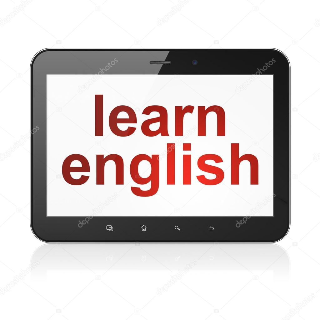 English Pc Education Concept Learn English On Tablet Pc Computer Stock