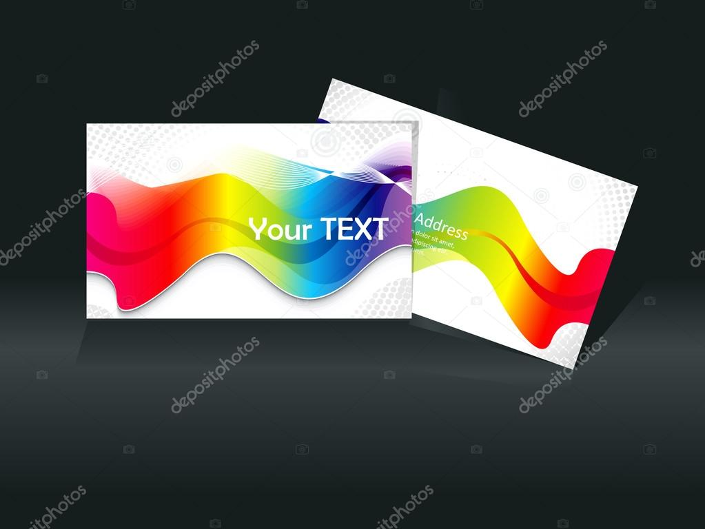 abstract colorful rainbow business card template \u2014 Stock Vector