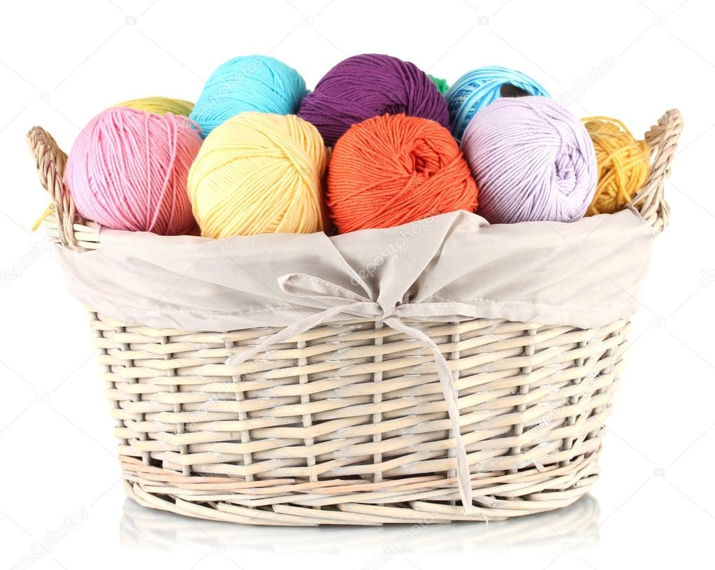 Rattan Yarn Colorful Yarn Balls In Wicker Basket Isolated On White