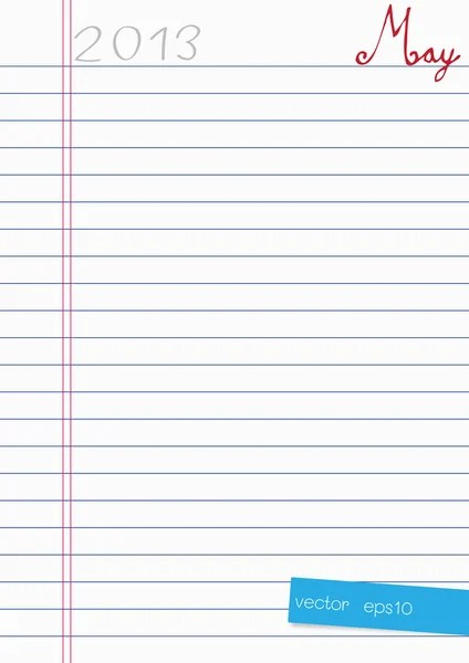 Notebook paper sheets horizontal blue lines and a vertical red - horizontal writing paper
