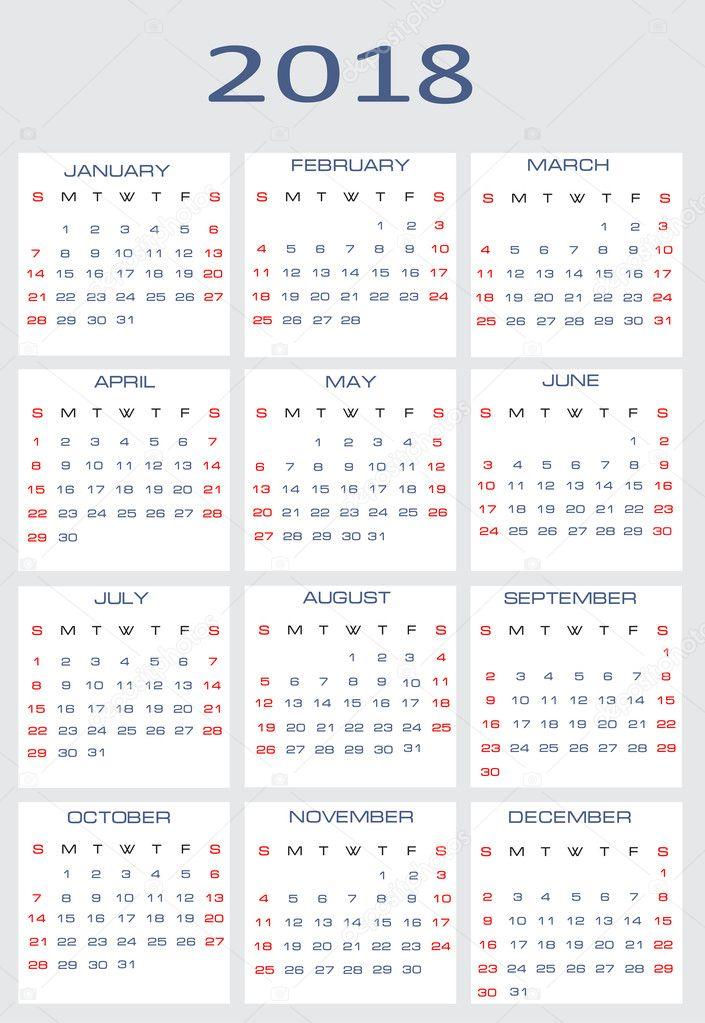 Vektor naptár 2018 \u2014 Stock Vektor © mitay20 #14526345