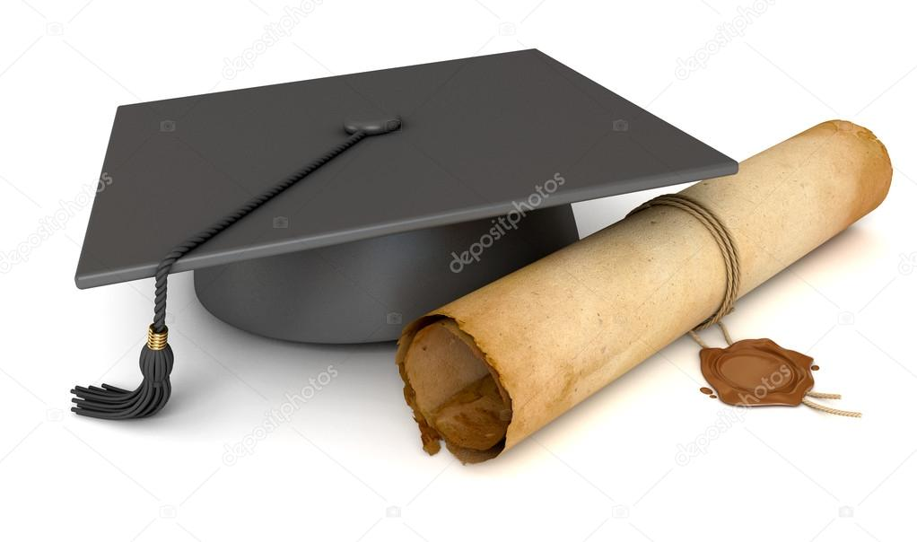 Graduation cap and diploma Old Scroll paper with wax seal \u2014 Stock - Graduation Certificate Paper
