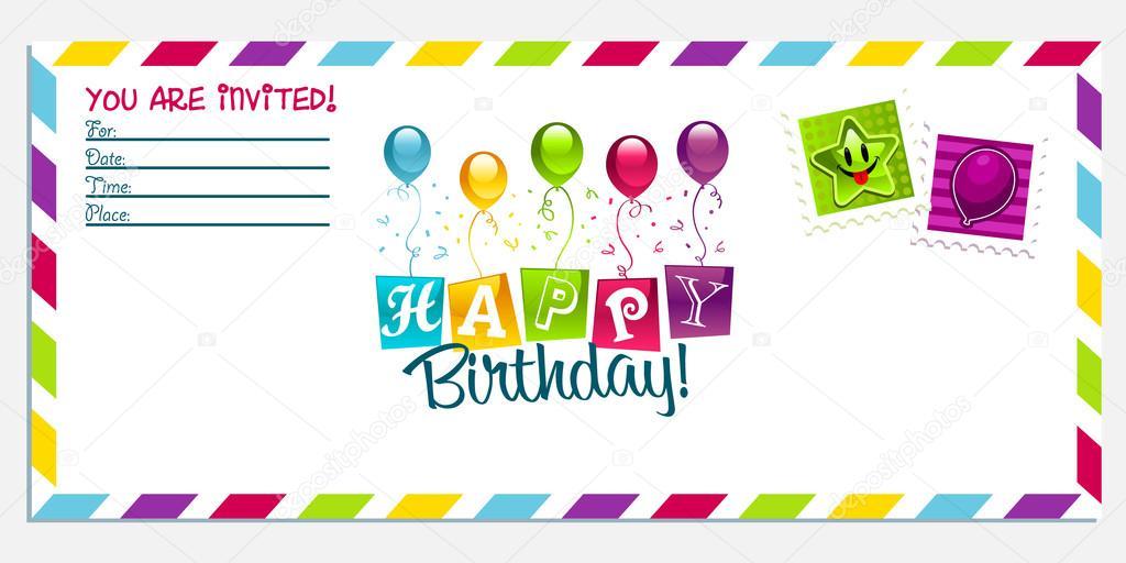 tarjeta del feliz cumpleaños invitación \u2014 Archivo Imágenes