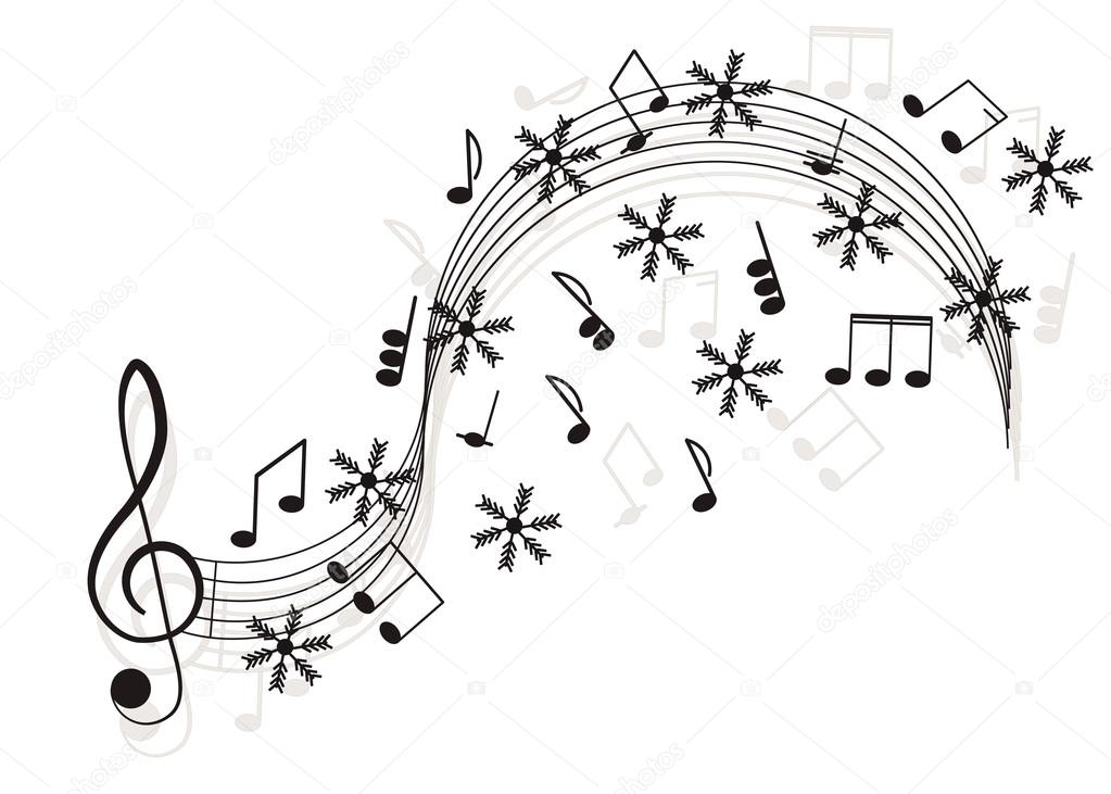 Music Treble clef and notes with snowflake for your design \u2014 Stock