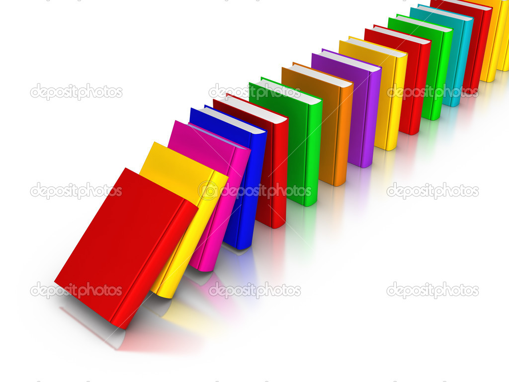 Dominoes Falling Wallpaper Row Of Colourful Books Falling Like Domino Stock Photo