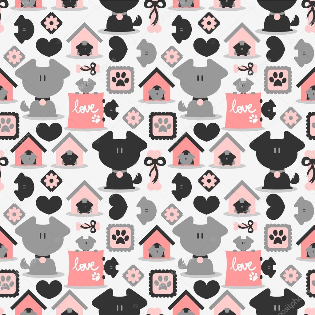 Cute Boston Terrier Wallpaper Seamless Pattern With Cute Dogs Stock Vector 169 Littlepaw