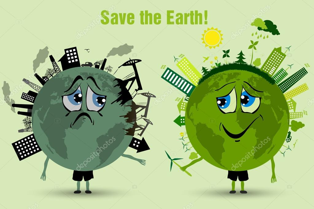 Conserve the earth environmental pollution \u2014 Stock Vector