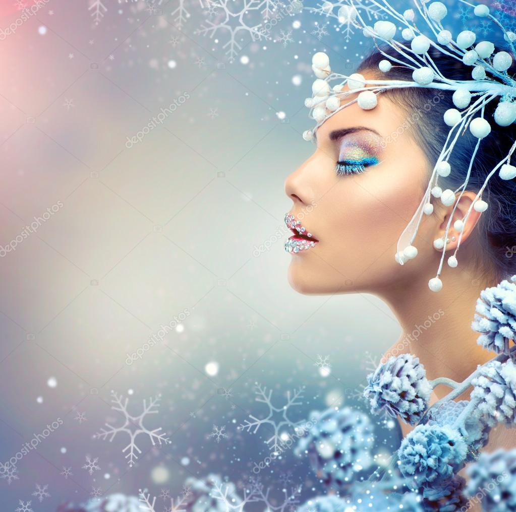 Businessman Quotes Wallpaper Winter Beauty Woman Christmas Girl Makeup Stock Photo