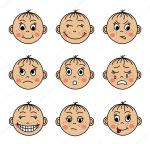 Set Childrens Faces With Different Emotions Stock Vector