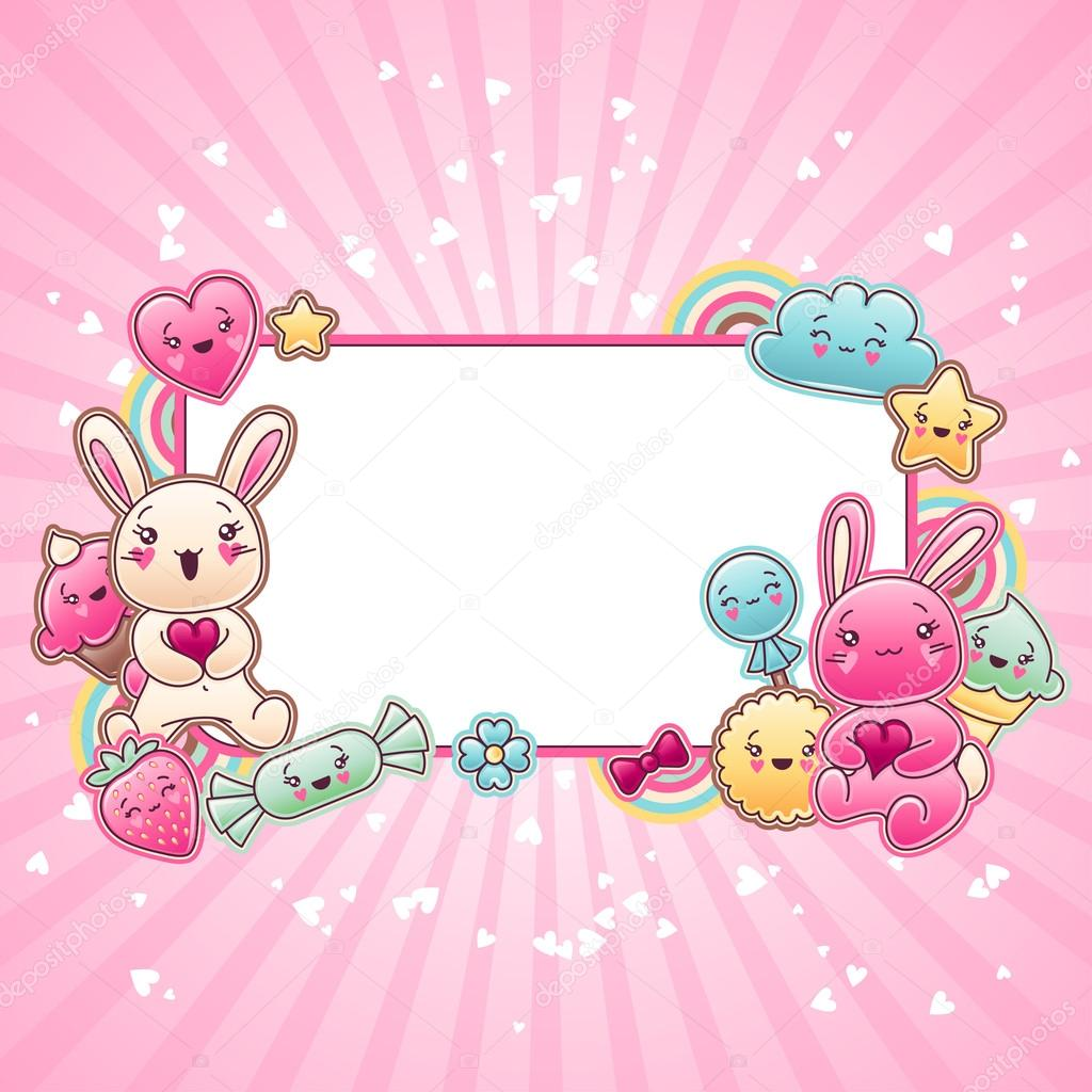 Cute Baby Girl Child Wallpaper Cute Child Background With Kawaii Doodles Stock Vector