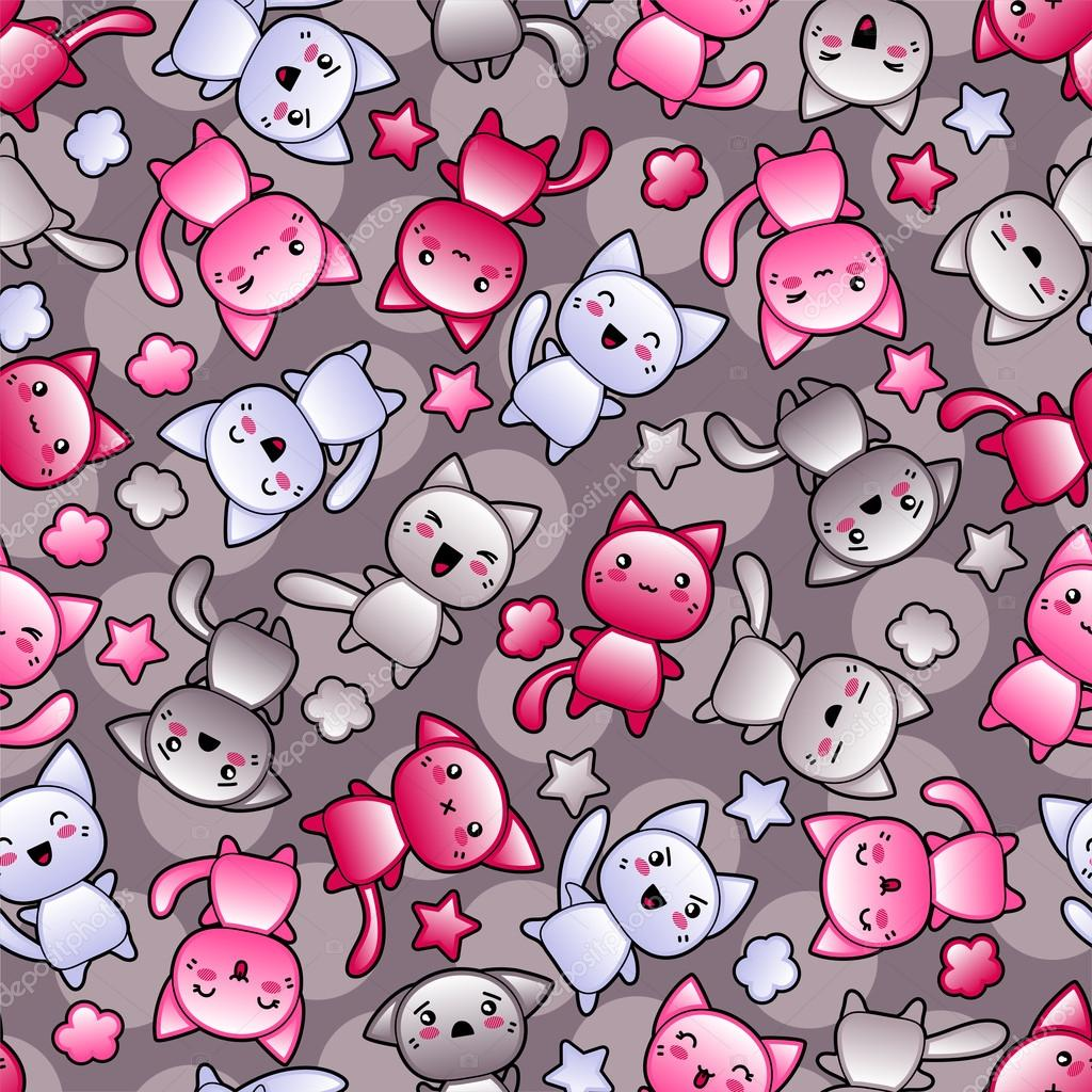 Cat Girl Anime Live Wallpaper Seamless Pattern With Cute Kawaii Doodle Cats Stock