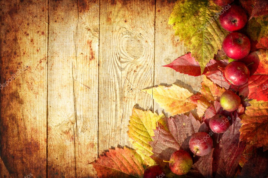 Free Fall Themed Desktop Wallpaper Vintage Autumn Border From Apples And Fallen Leaves On Old