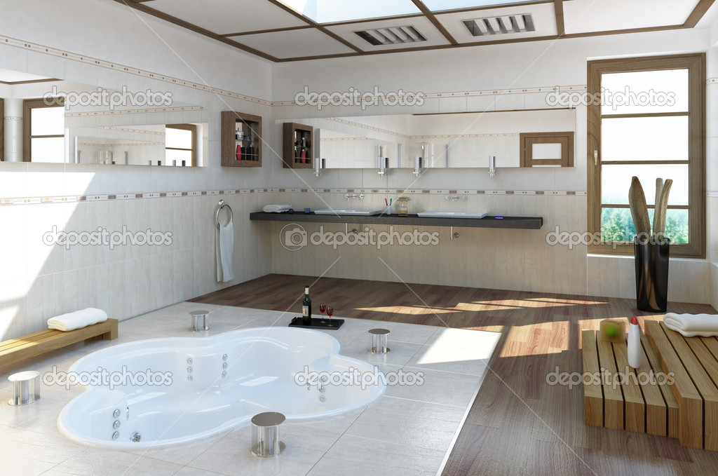 Luxus Badezimmer Fotos Luxus Bathroom With A Whirlpool — Stock Photo