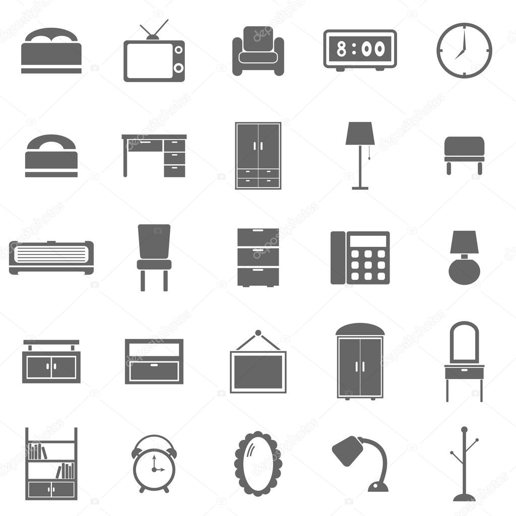 Bedroom White Background Bedroom Icons On White Background Stock Vector