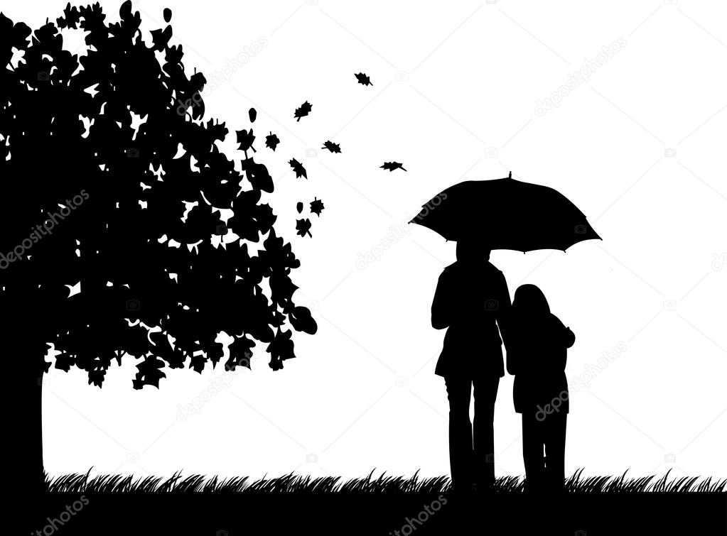 Girl Under Rain Live Wallpaper Mother And Daughter Walking In The Park Under Umbrella In