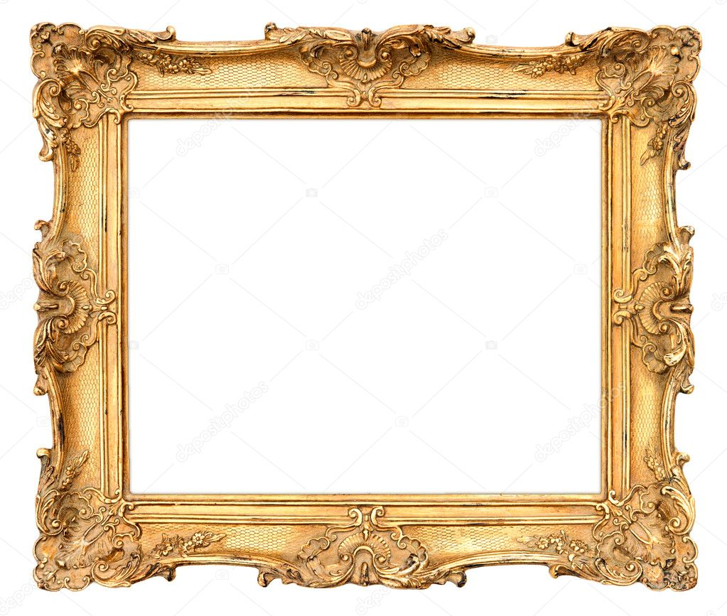 Alter Bilderrahmen Gold Old Golden Frame. Vintage Background — Stock Photo
