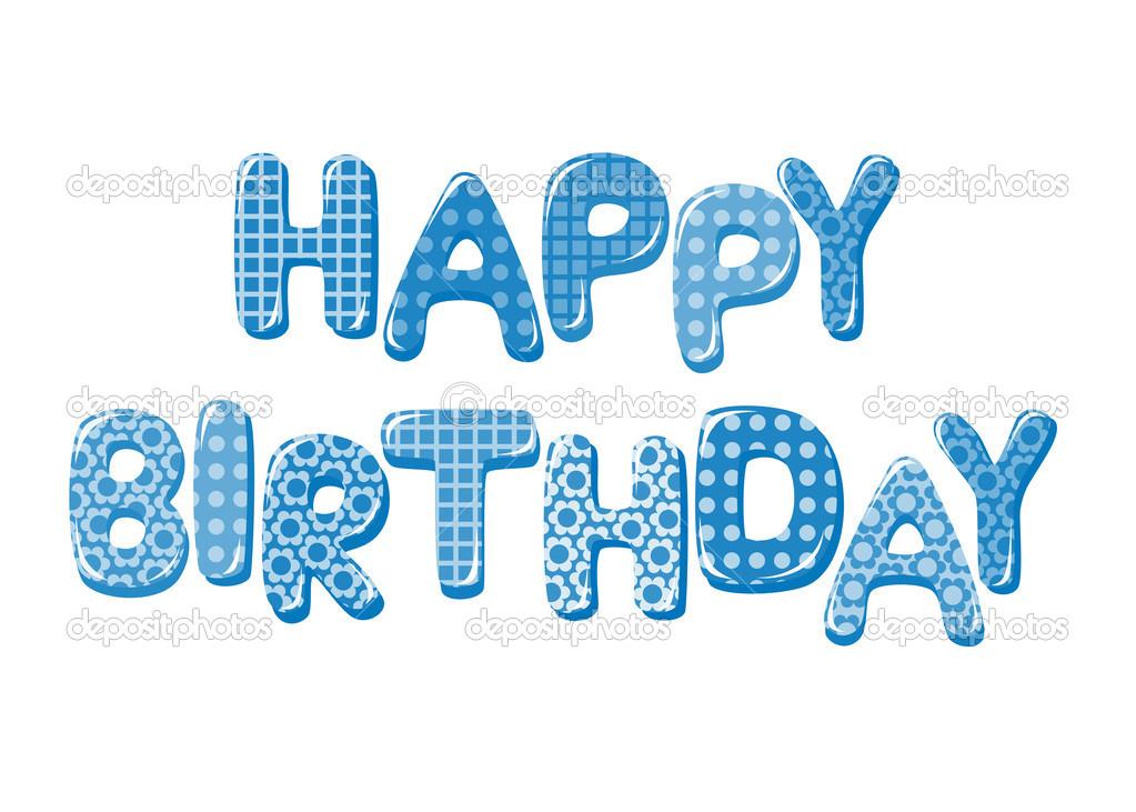 Letras de feliz cumpleaños en azul \u2014 Vector de stock © tatus #41503637