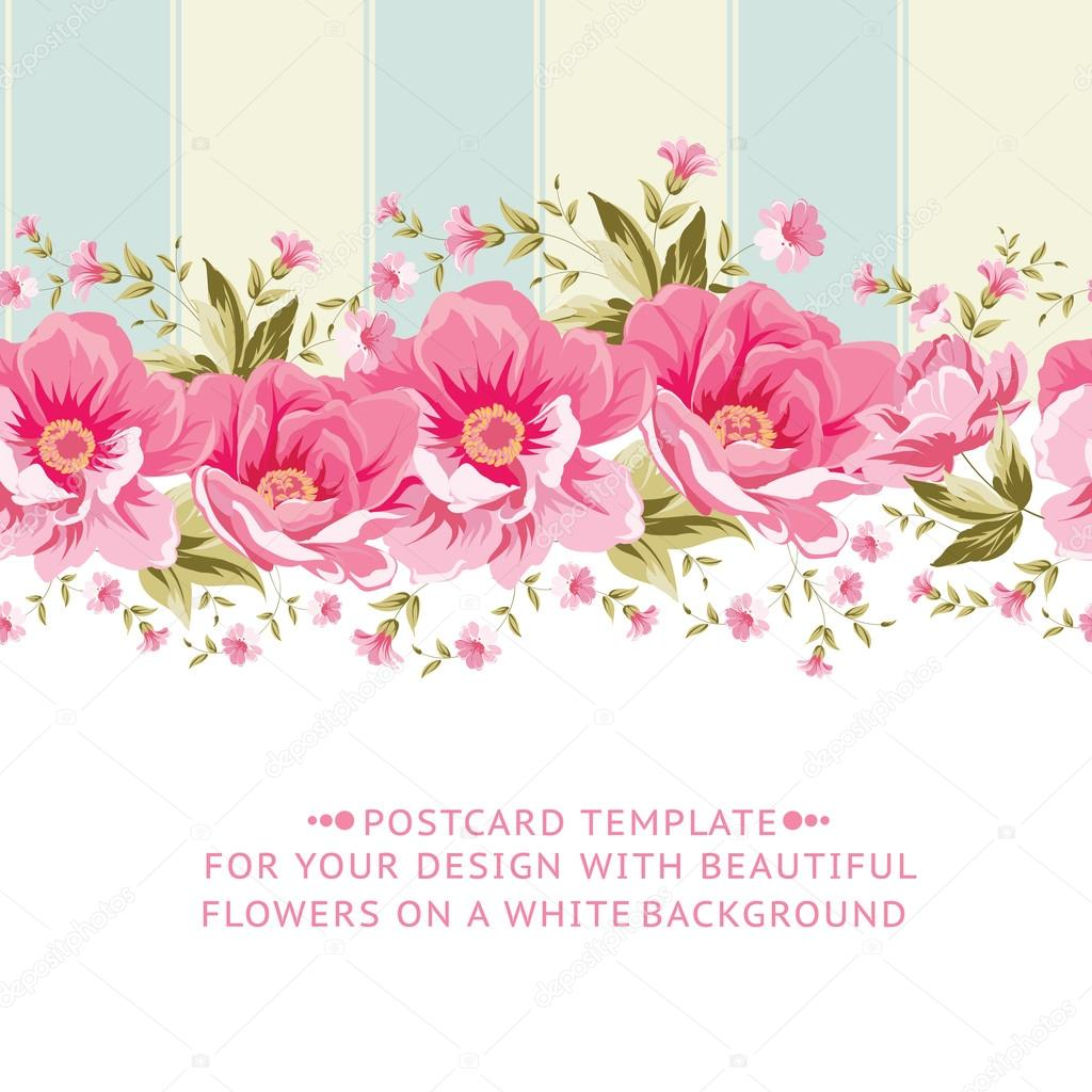 Gul Rule Ornate Pink Flower Border With Tile Stock Vector