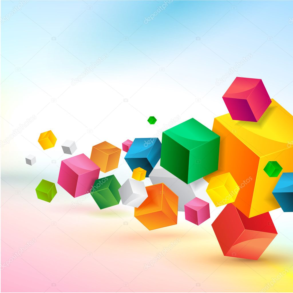 3d Cube Live Wallpaper Free Download Abstract Colorful Background Design Stock Vector