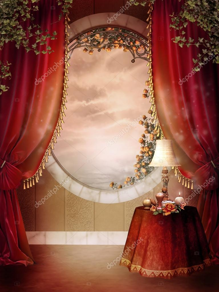 Cute Teddy Bear Live Wallpaper Free Download Victorian Bedroom With Red Curtains Stock Photo