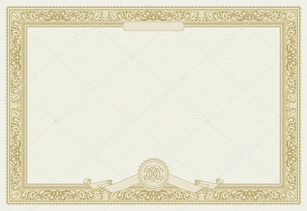 modelo de certificado vetoriais editáveis com borda ornamental