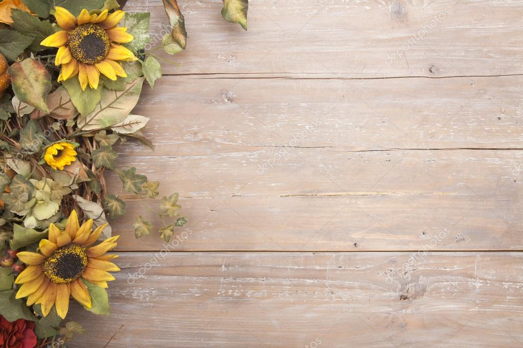 Thanksgiving Fall Wallpaper Fall Border With Sunflowers On A Grunge Wood Background