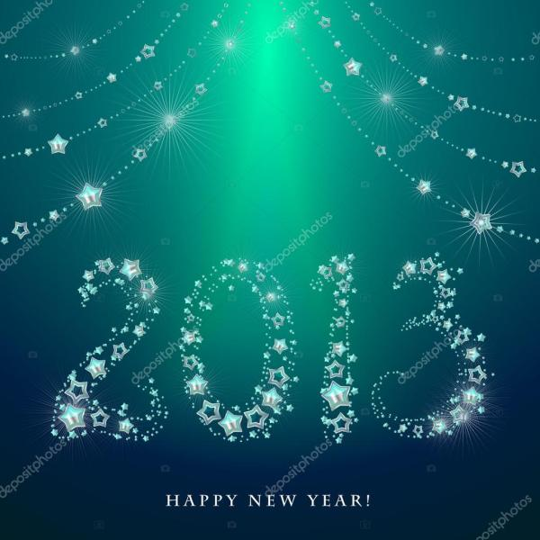 Happy New Year Greeting Card 2013 made from glittering stars  Stock . 1024 x 1024.Sample Greetings For Happy New Year
