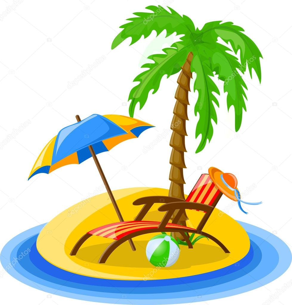 Sonnenliege Clipart Traveling Background With Palm Trees Sun Bed Bucket Stock